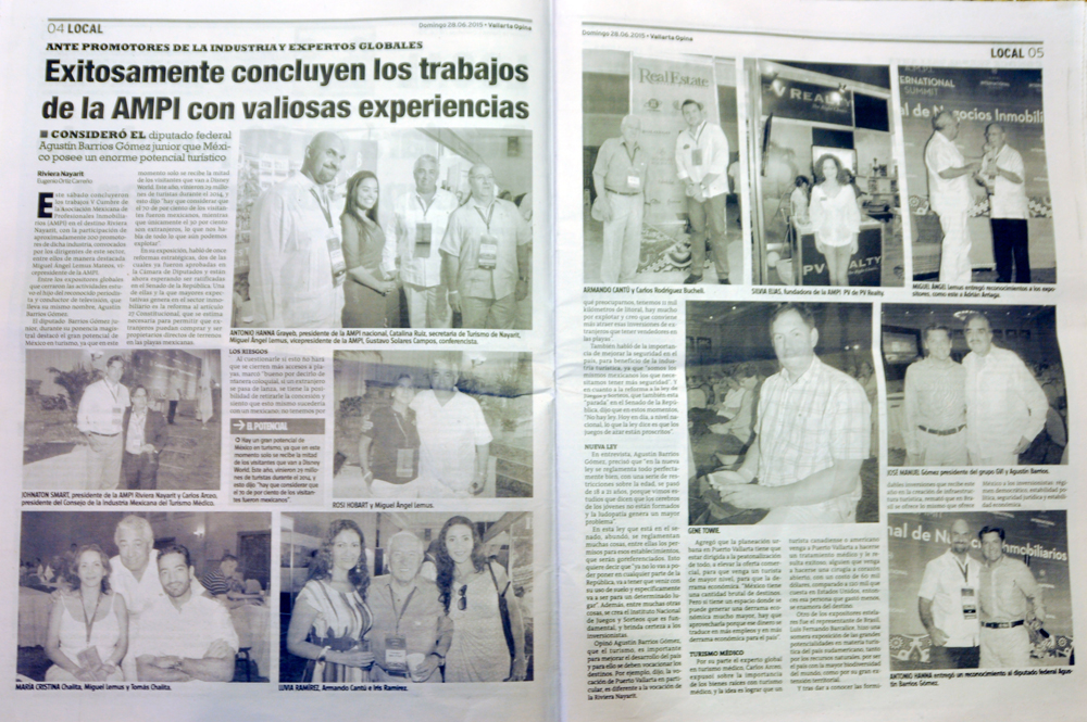 Puerto Vallarta Real Estate  Thank You, Vallarta Opina, Puerto Vallarta LifeStyles, Property Journal and all media, for  the coverage of the V - AMPI International Real Estate Summit, 05